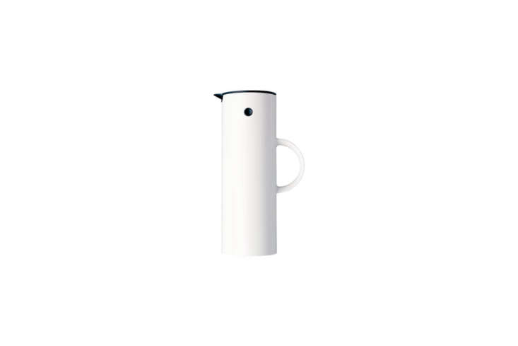 The Scandinavian Stelton EM77 Vacuum Thermos Jug in white is $60 on Amazon.