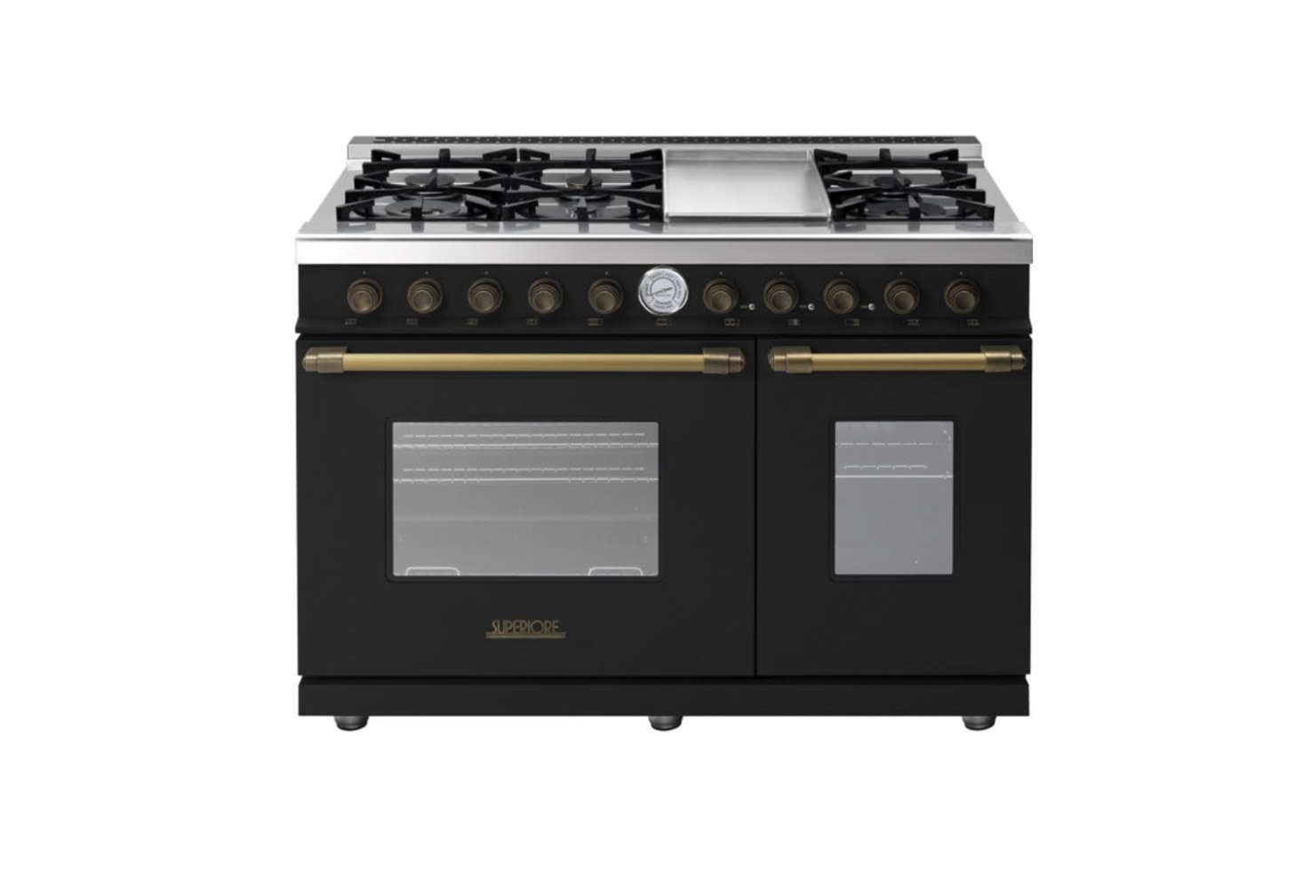 The Superiore Deco Series 48-Inch Range starts at $9,0 and is available in a choice of colors (black, brown, cream, or red) and accents (bronze, chrome, or gold) from AJ Madison.