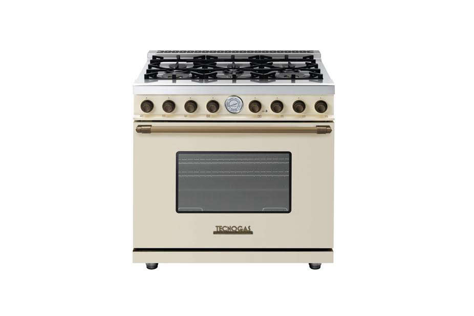 The Superiore Deco Series 36-Inch Range starts at $6,560 and is available in black, brown, cream, and red with a choice of accents (bronze, chrome, or gold) from AJ Madison.