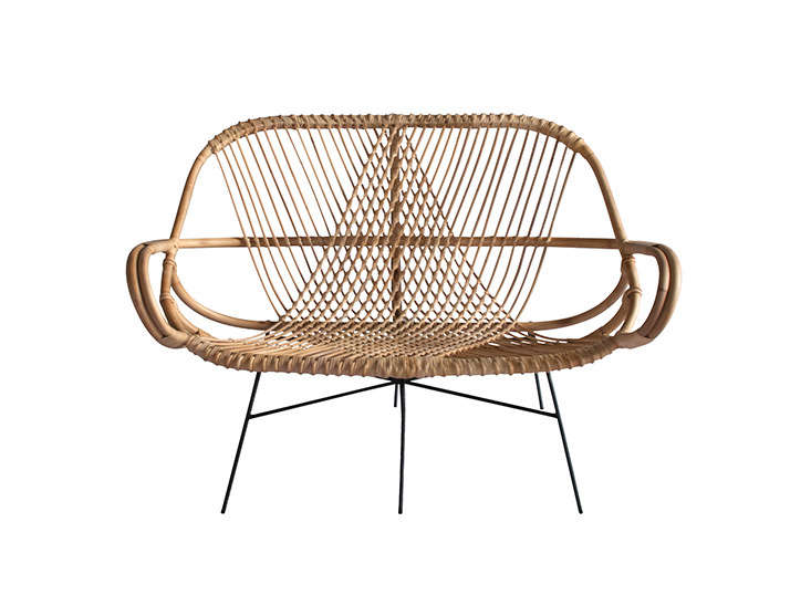 The matchingDiamond Rattan Settee best showcases the diamond pattern created when strip rattan (the narrower pieces) is woven around pole rattan (the thicker ones). It&#8