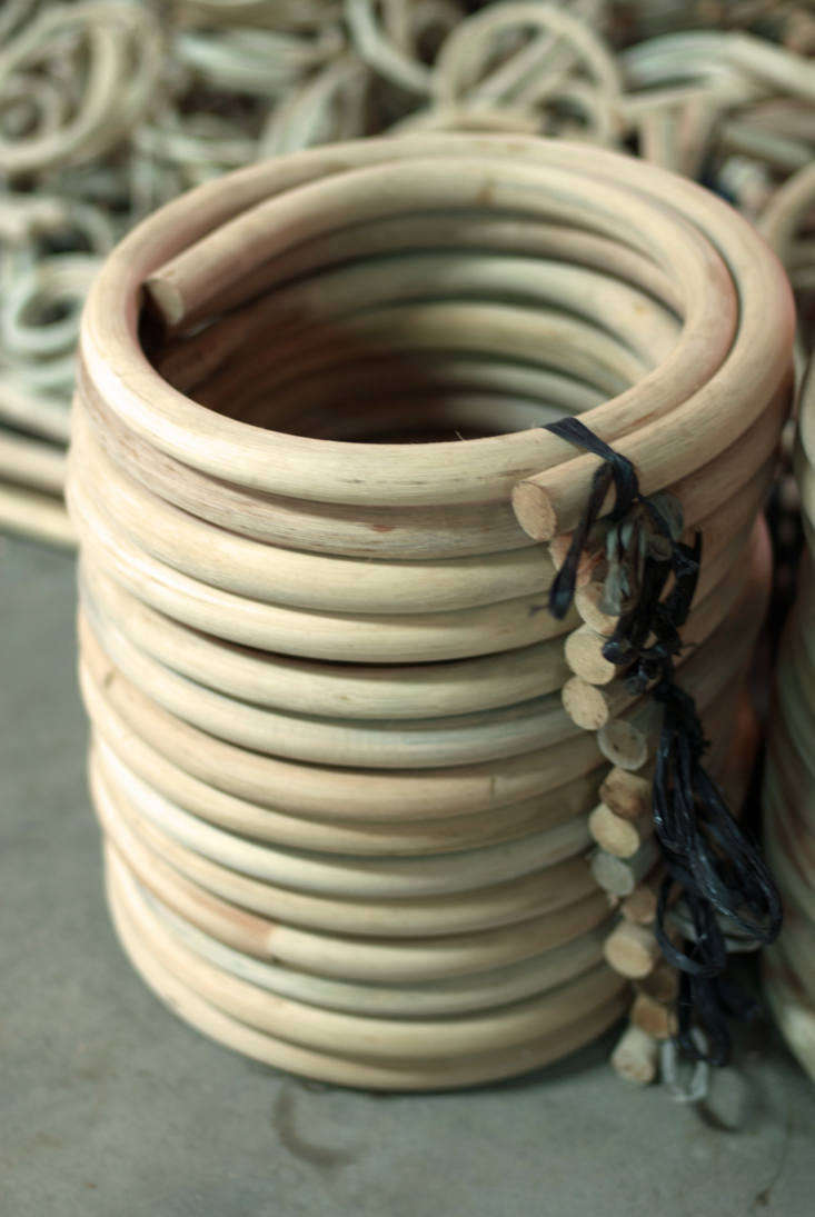 To mold the rattan further, the dried plant is heated, then bent, and again until the right shape is achieved.