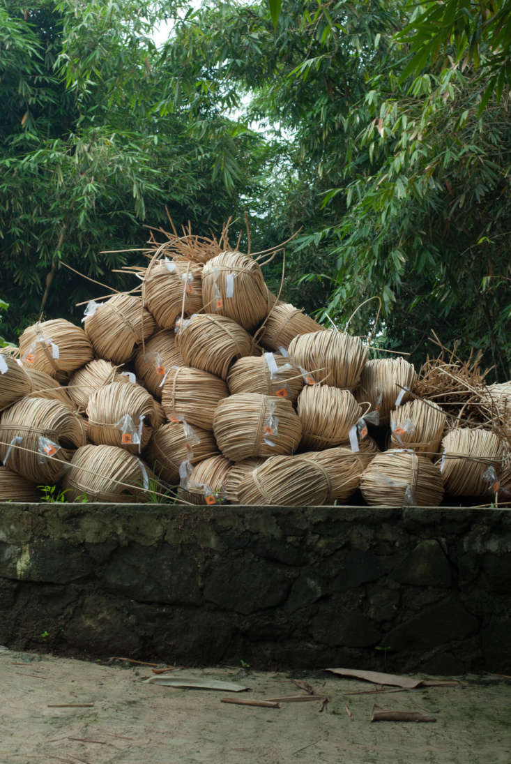 Wend chairs begin as rattan bundles, tied to hold a circular shape while they dry.