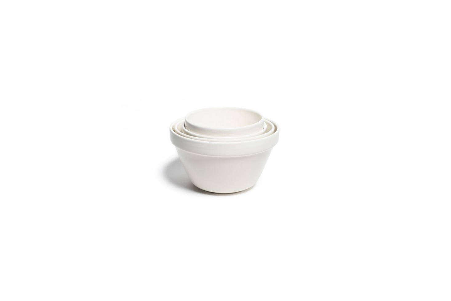Mason Cash White Glazed Mixing Bowls start at $.99 for the 0.-quart size on Amazon.