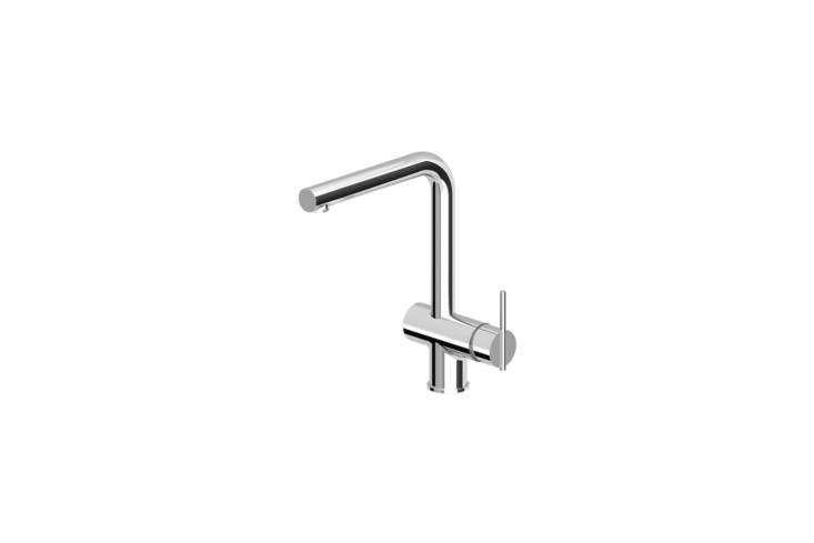 The Italian Zucchetti ZXS Sink Mixer in chrome is also available in four custom finishes; for more information, contact Streamline Products.