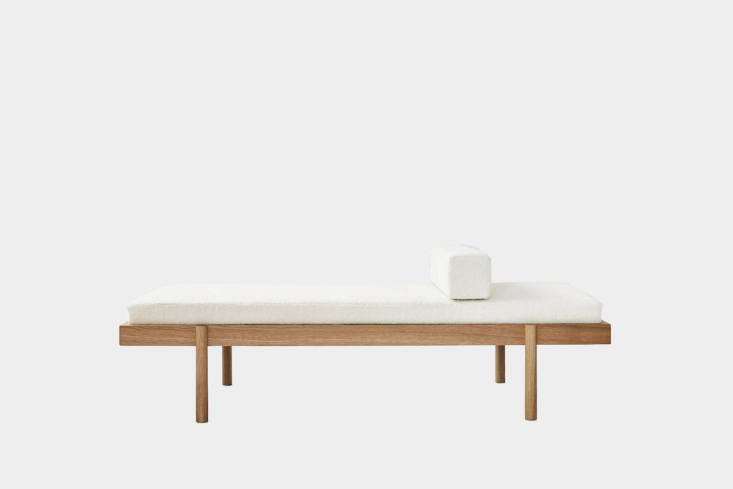 The New Guard 8 Modern Daybeds with Character Designed by Will Cooper for Ash NYC, the WC\2 Daybed, shown here in white wool and oak, has hand turned legs that make an invisible joint at the frame; \$5,700 at Ash x WC.