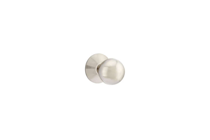 The Emtek Orb Modern Door Knob is available in five finishes, including satin nickel as shown; $