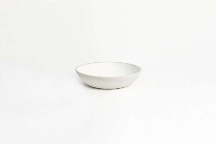 from humble ceramics, the stillness bowl in greystone/snow white measures 8.5 i 17