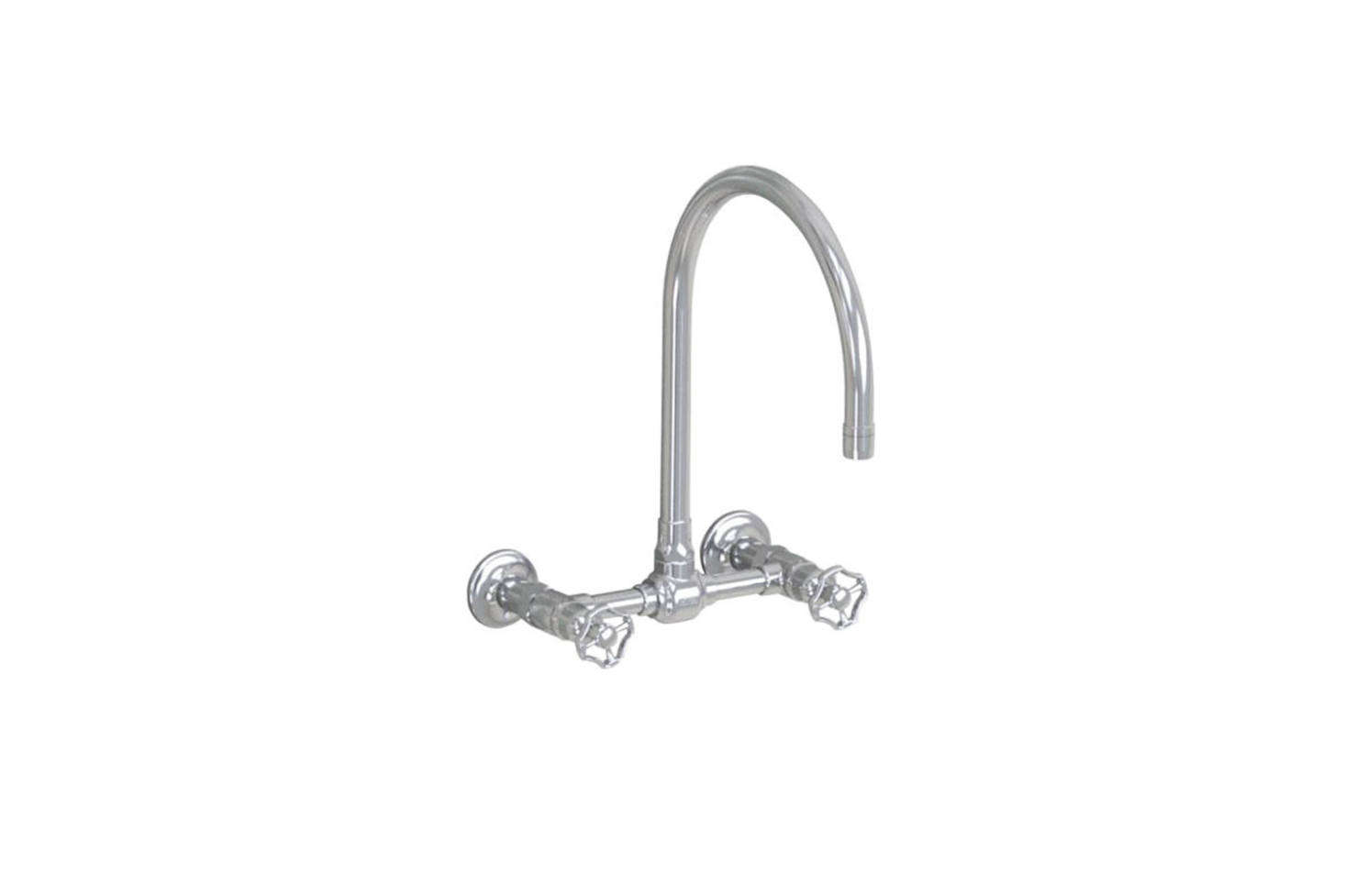The Jalco Steam Valve Original Wall-Mount Bridge Mixer features a -inch swivel spout (shown in brushed stainless with wheel handles); $97src=