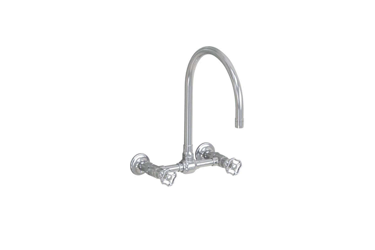 The Jalco Steam Valve Original Wall-Mount Bridge Mixer features a -inch swivel spout (shown in brushed stainless with wheel handles); $97loading=