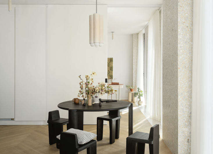 Material Interiors A Shoppable Apartment in New York Design Luminaries Edition In the &#8\2\20;dining room,&#8\2\2\1; theBone Dining Table 0\2 andBone Chair 0\1 by Montreal woodworker Loïc Bard.