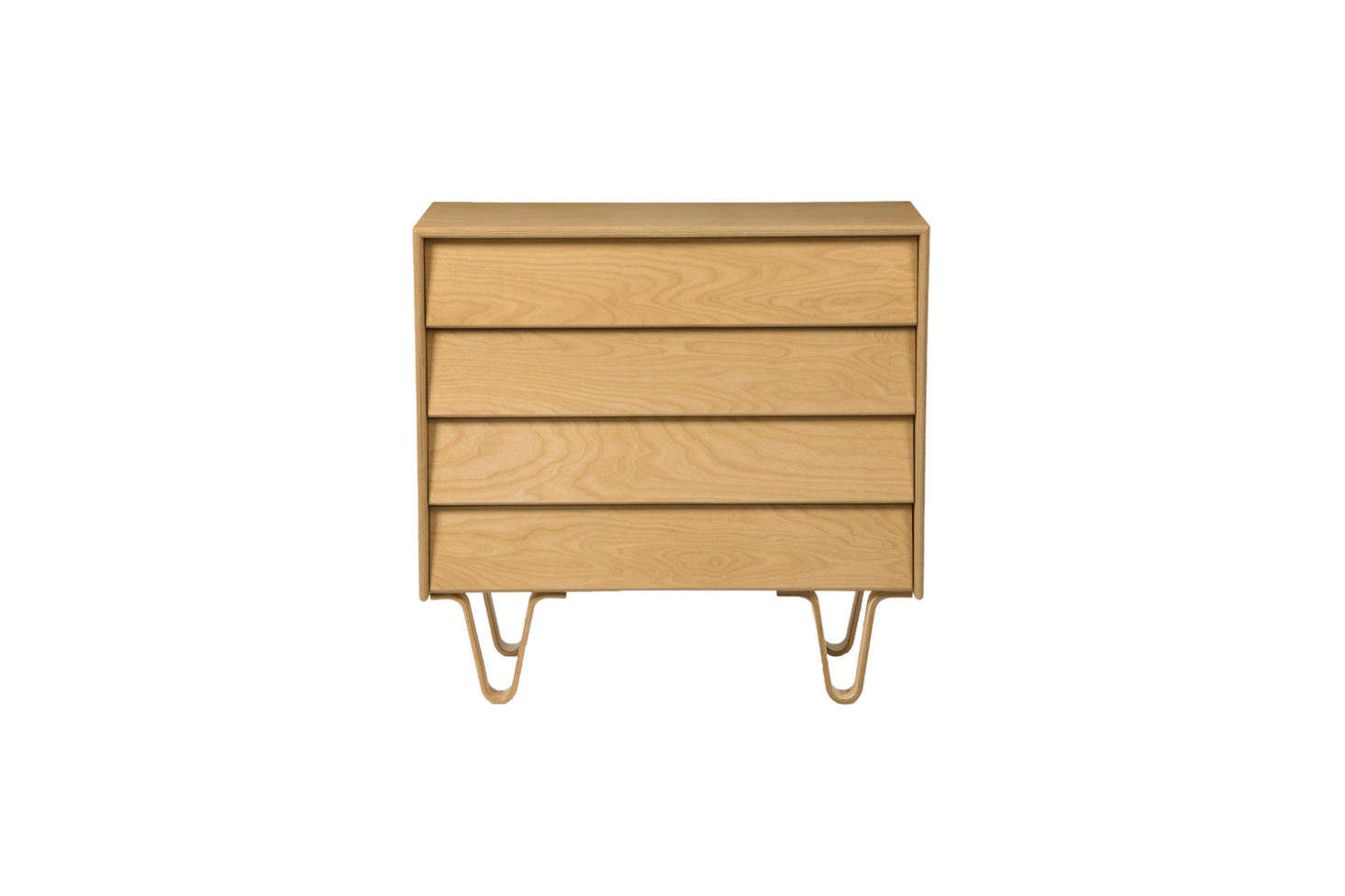 The Modernica chest of drawers that Carla sourced is no longer available. The companion piece to the bed is the Case Study Bentwood 4 Drawer Dresser in Classic Stain; $