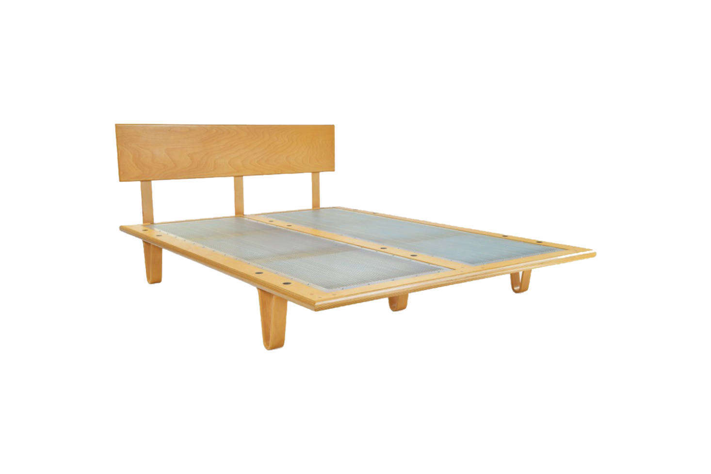 The bed frame is the Case Study Bentwood Bed in Classic Stain from Modernica; $src=