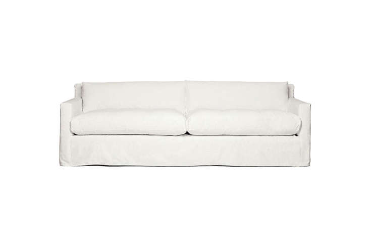 The Montauk Geoffrey Sofa is one of a few Montauk sofa designs—all slipcovered sofas—that comes as a sleeper: the Roll Arm, Casual T, Traditional Low (also listed below), and Traditional High. Contact Montauk for price information.