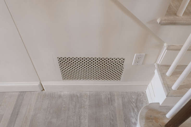 Studio Oink turned the functional elements of the house into appealing accents. Vent covers were sourced from Majestic Vent Covers (shown here is the Caspian grille) and painted with Farrow & Ball color (Slipper Satin here).