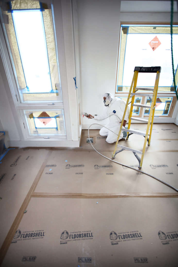FloorShell can be used to protect floors from paint splashes and overspray. Its scored edge is specifically designed to protect baseboards.