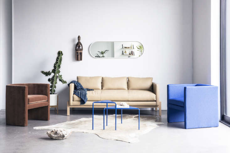 Shoppers Diary New Furniture Designs from Home Enthusiasts TRNK A trio of new TRNK designs: the Arc Chair in sienna velvet (left), Truss Apartment Sofa in buff leather, andAngle Chair in ultramarine.