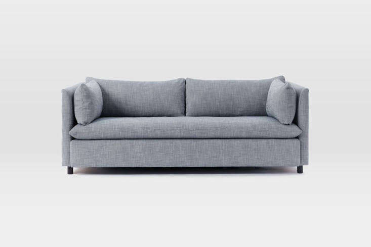 The Shelter Queen Sleeper Sofa, shown in yarn-dyed blue linen upholstery (it&#8