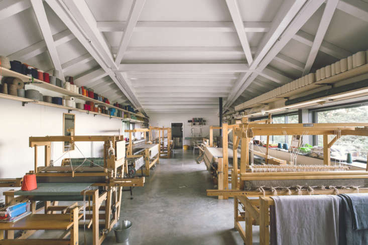 the other half of the building is the workroom. each piece is made to order by  12