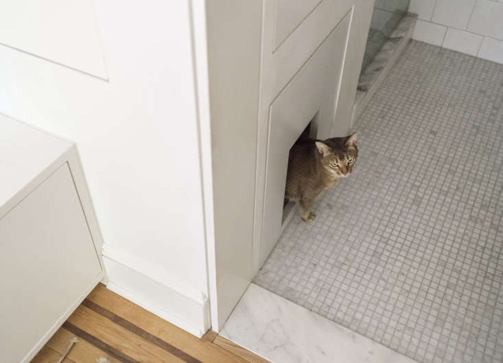 The pièce de résistance: a built-in niche for the kitty litter box (you may recognize our cat, JoJo, from the cover of The Organized Home: Simple, Stylish Storage Ideas for All Over the House).