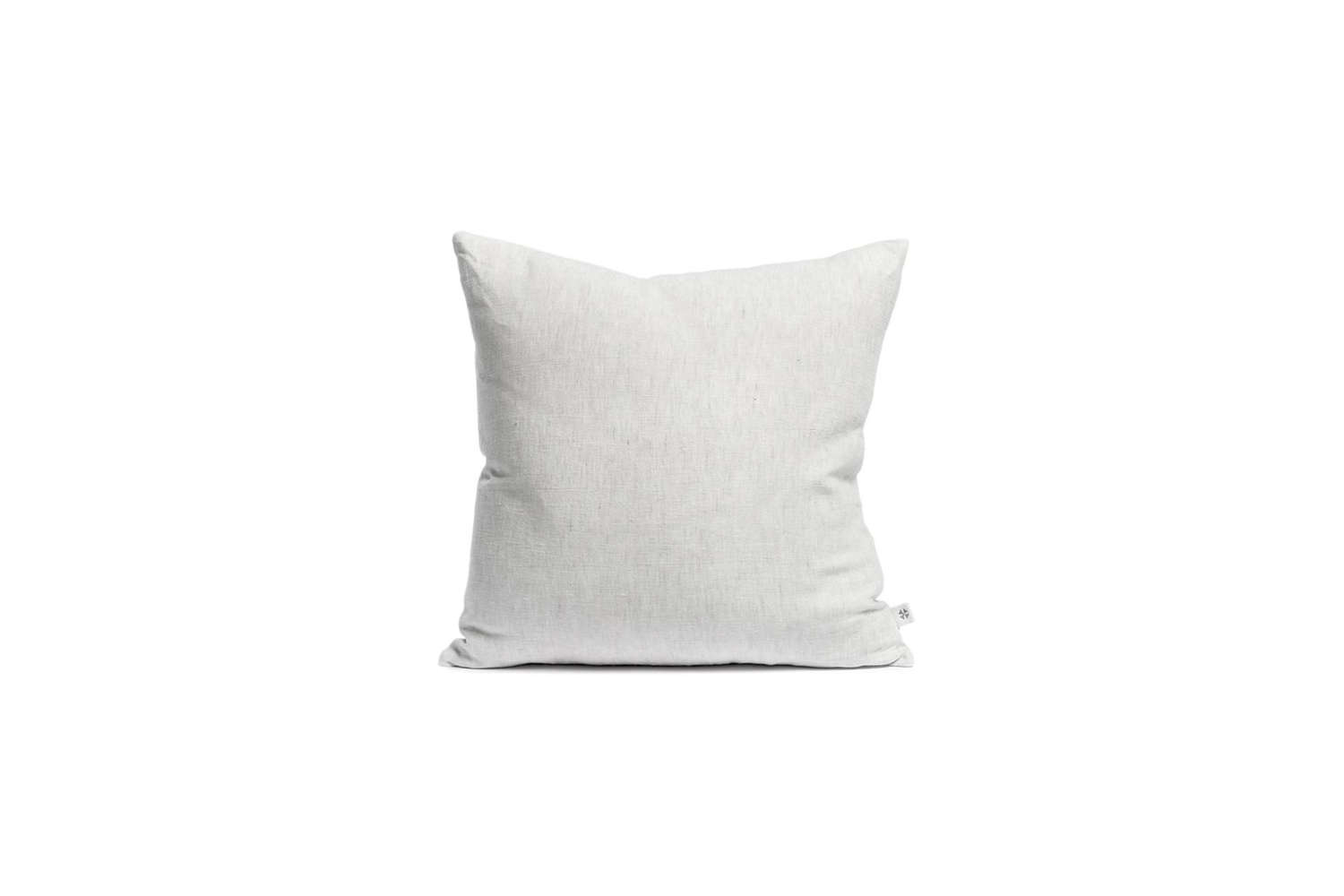 the lightest of the throw pillows is the by mölle misty grey linen cushion; � 23