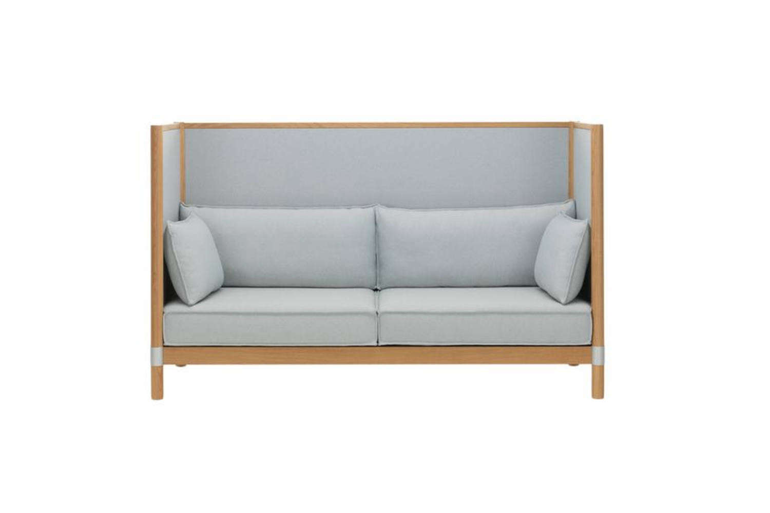 Another one from the Bouroullec brothers for Vitra, the Cyl Highback Sofa has a solid oak frame and upholstered panels and cushion in a host of colorful textiles; $loading=