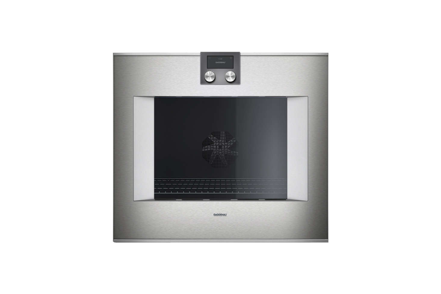 Two Gaggenau 400 Series Glass Door Wall Ovens are inset into kitchen cabinets. Contact Leiberts for price information.