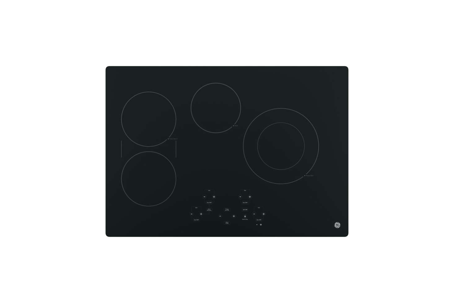 Most of the kitchen appliances are integrated behind cabinet panels. The GE 30-Inch Profile Smooth Surface Electric Cooktop is similar to the cooktop Caroline and Steffan chose. It&#8