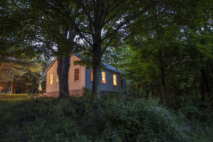 A Glen Wilde cabin at night.