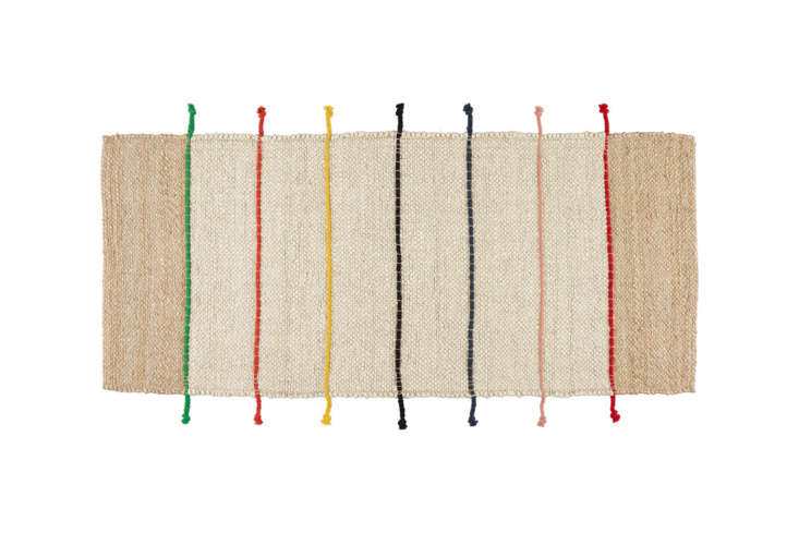 The rug is the Tilst Flatwoven Rug; $34.99 at Ikea.