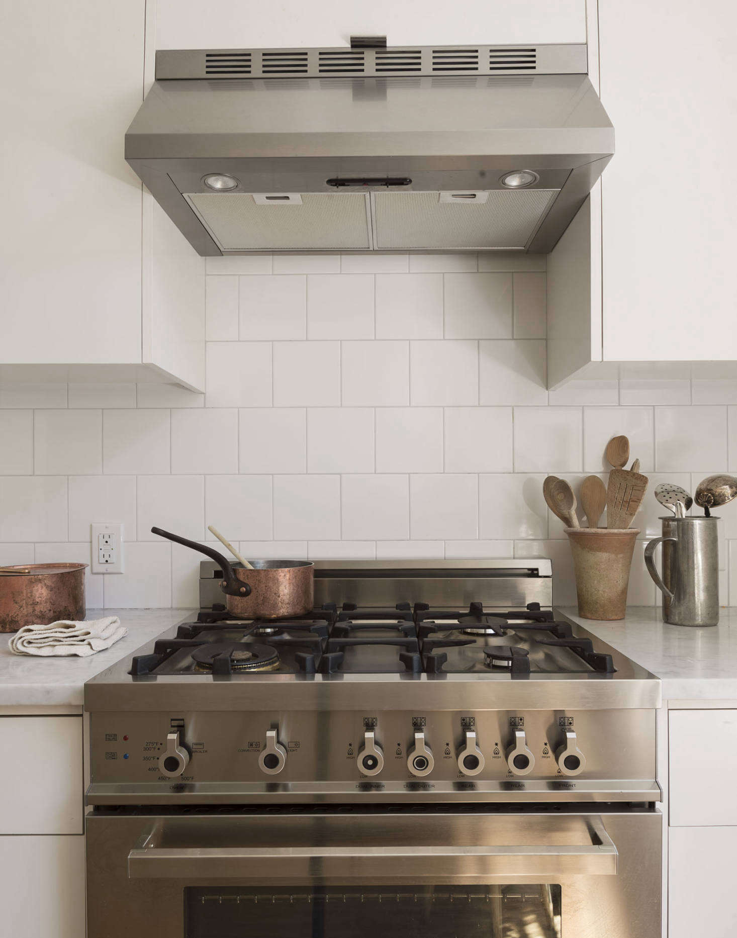 We chose a Bertazzoni PRO304GASX Range for its good looks and relatively slim profile (compared to a Wolf or a Viking).