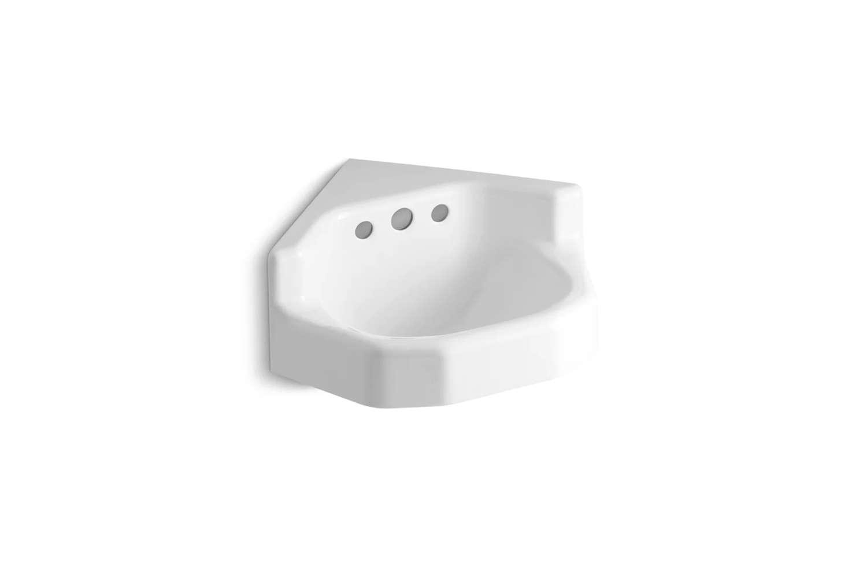 the kohler marston metal \23 inch corner bathroom sink with overflow comes in w 14