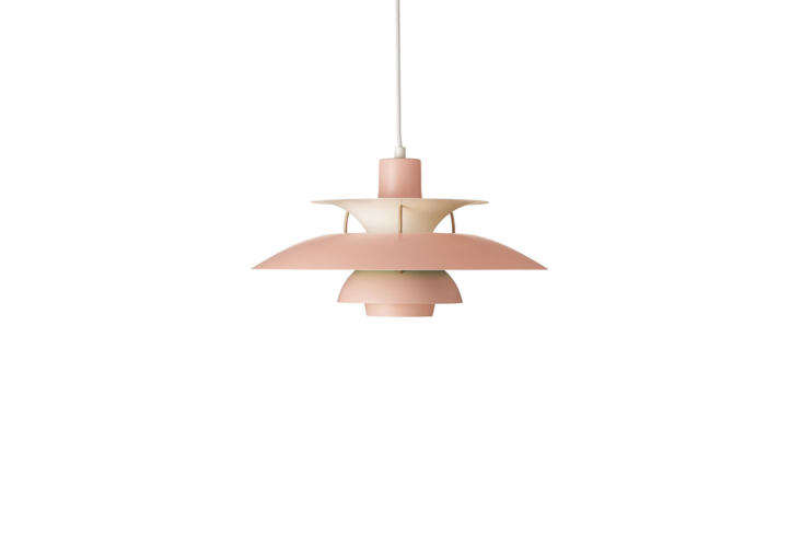 Steal This Look A Polychromatic Dream Kitchen in Hackney London Hanging over the dining table are two Louis Poulsen Ph5 Pendant Lights in pink; \$996 each at Design Within Reach.