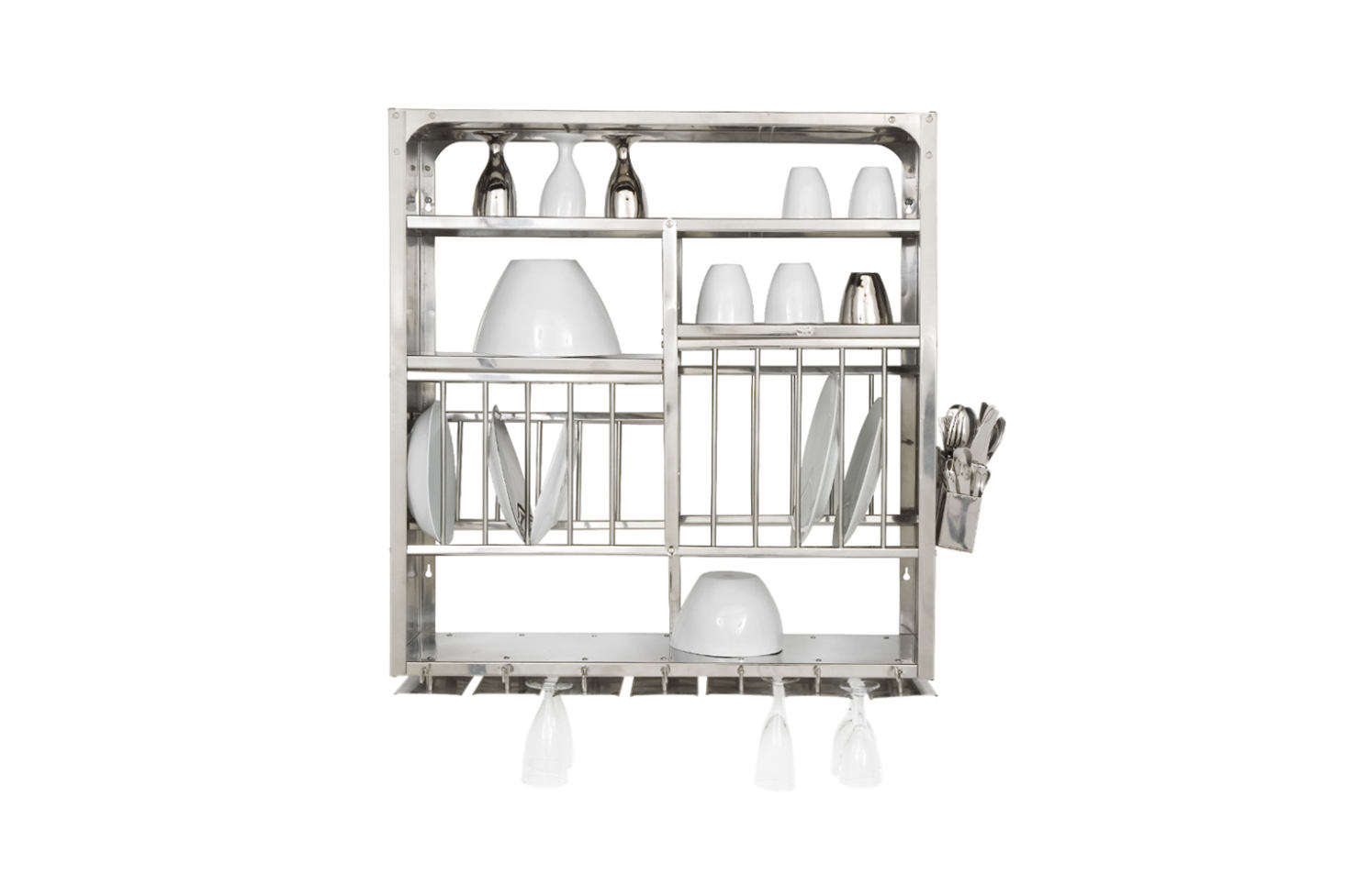 Above the sink is a stainless steel wall-mounted dish rack (the same dish racks seen at Atelier September). They sourced it from French designers Tsé and Tsé, who no longer import the Indian kitchen staple. You can find an identical Middle Plate Rack for £0 from The Plate Rack in the UK.