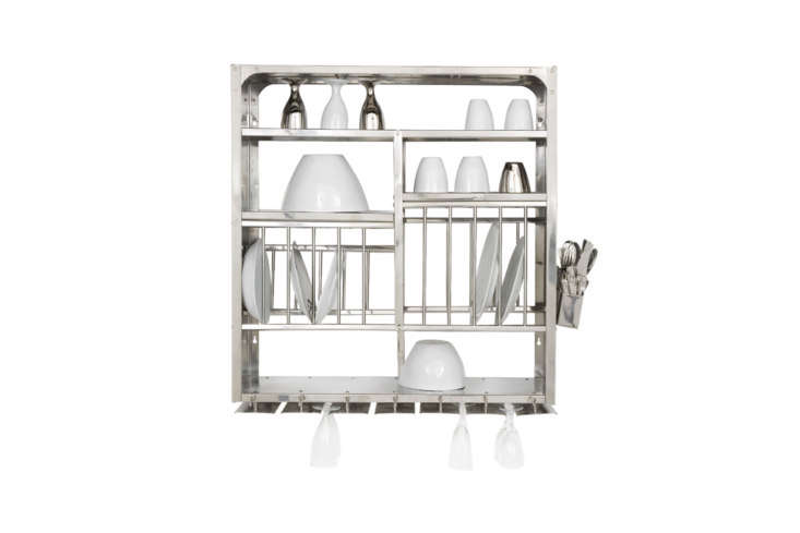Above the sink is a stainless steel wall-mounted dish rack (the same dish racks seen atAtelier September). They sourced it from French designers Tsé and Tsé, who no longer import the Indian kitchen staple. You can find an identicalMiddle Plate Rackfor £0 from The Plate Rack in the UK.