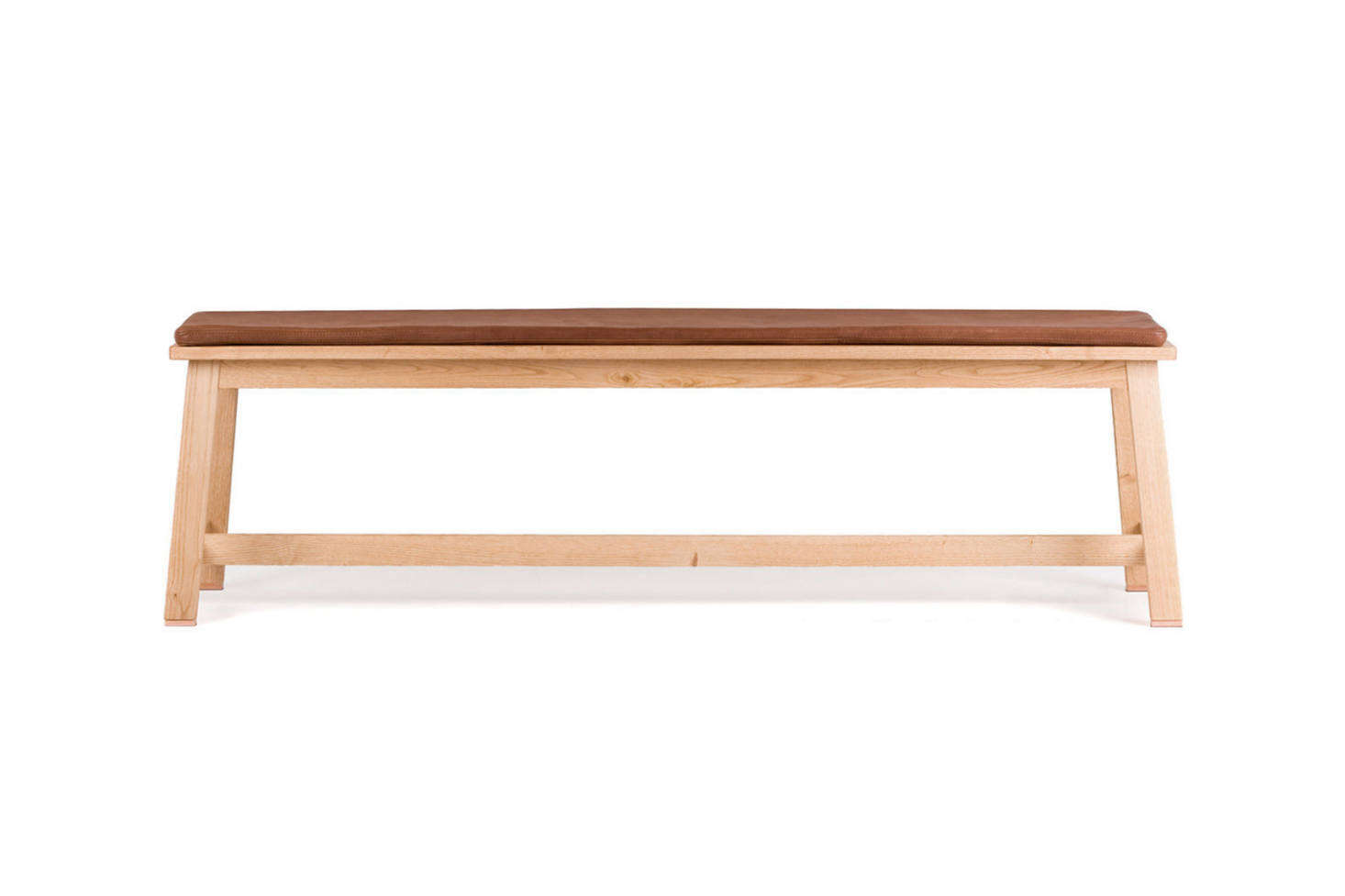 The dining bench is the Studioilse 443 Bench with a leather seat cushion; $src=