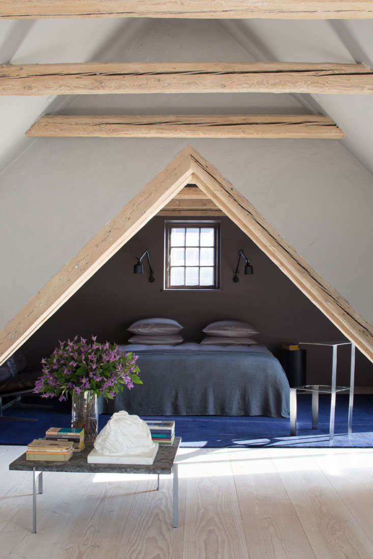 the simple bedrooms (there are only two) feature linens from danish company aia 16