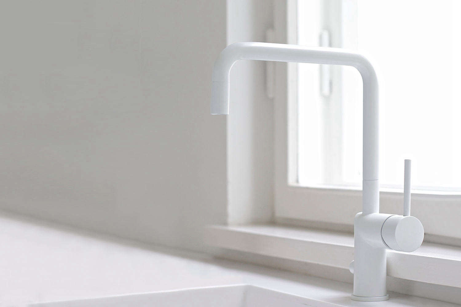 10 Easy Pieces Modern Matte White Faucets Nivito&#8\2\17;s RH 300 One handle Mixer is available in white and designed for the kitchen; it can be ordered through Nivito and Nivito dealers.