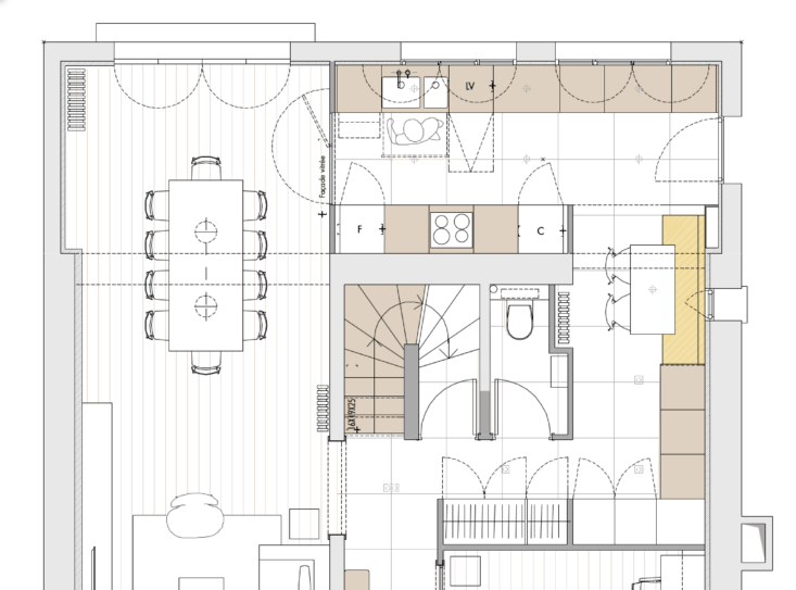 The floor plan details the way Harden put the extension to work, while successfully unifying it with the rest of the house.