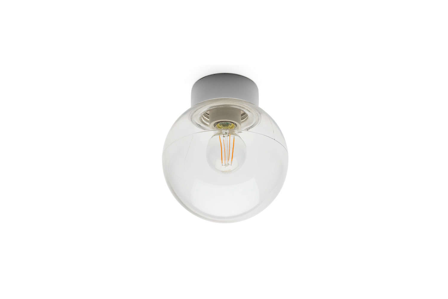 The porcelainCeiling Lamp with clear glass globe is €3loading=