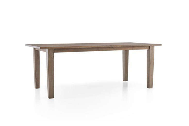 The dining table, the Farm Table from Recycling the Past, is made of salvaged barn wood and is $600. For an off-the-shelf style, Crate & Barrel&#8