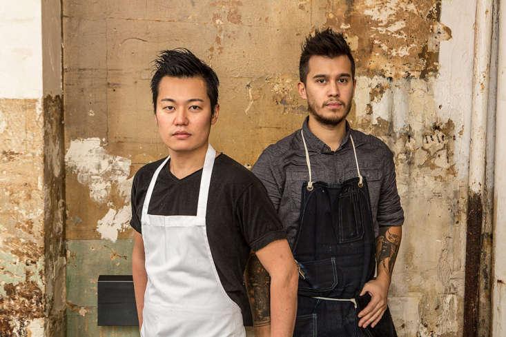 Japanese-born chef Taku Sekine and restaurateurAmaury Guyot.