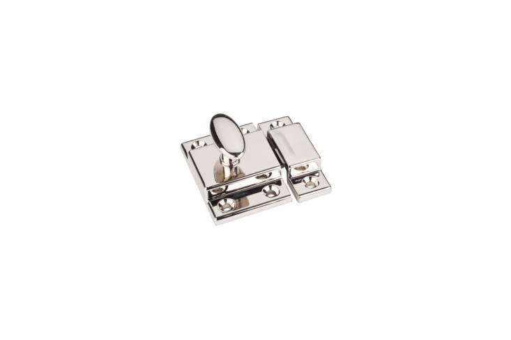 TheJeffrey Alexander Cabinet Latch is made of zinc and finished with polished nickel; $loading=