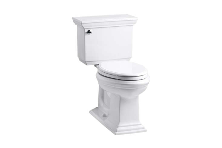 The Kohler Memoirs Stately Comfort Toilet with Aquapiston Flush measures in the WaterSense certification of loading=