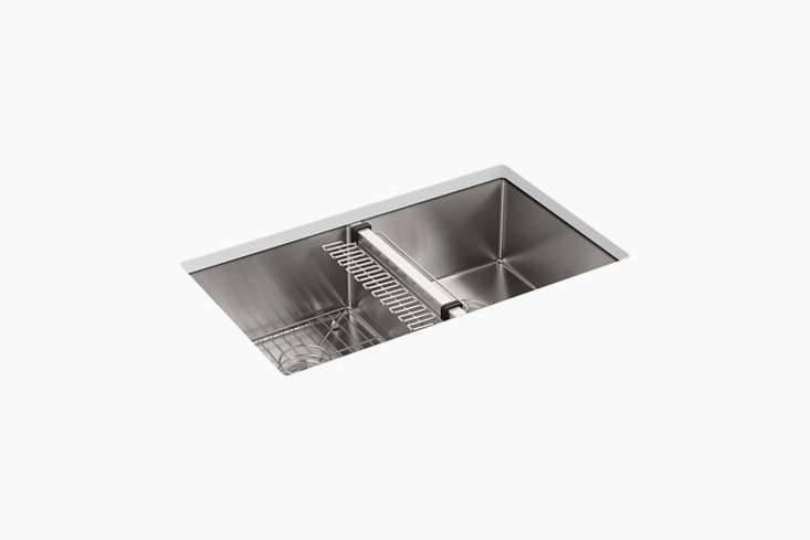 For a similar stainless sink to the one set into the custom concrete counter, Kohler&#8