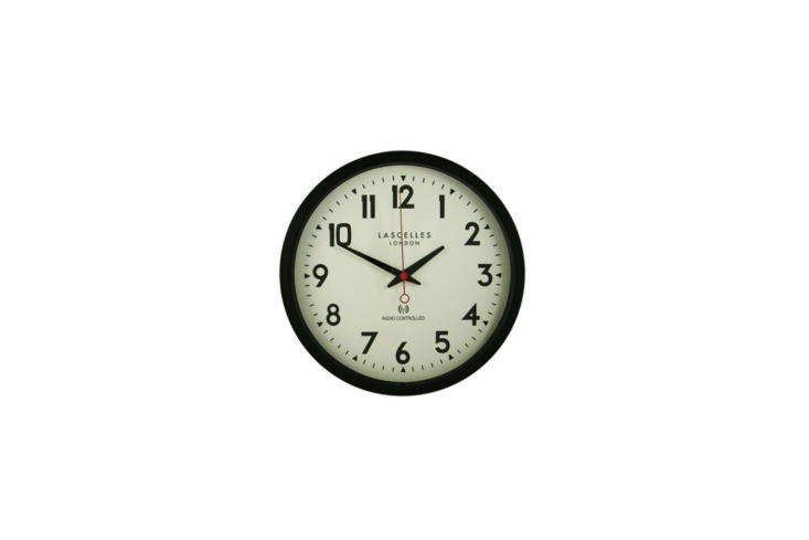 The Lascelles Radio Controlled Wall Clock in black is £60 at John Lewis. For more wall clocks, see our post  Easy Pieces: Simple Kitchen Clocks.