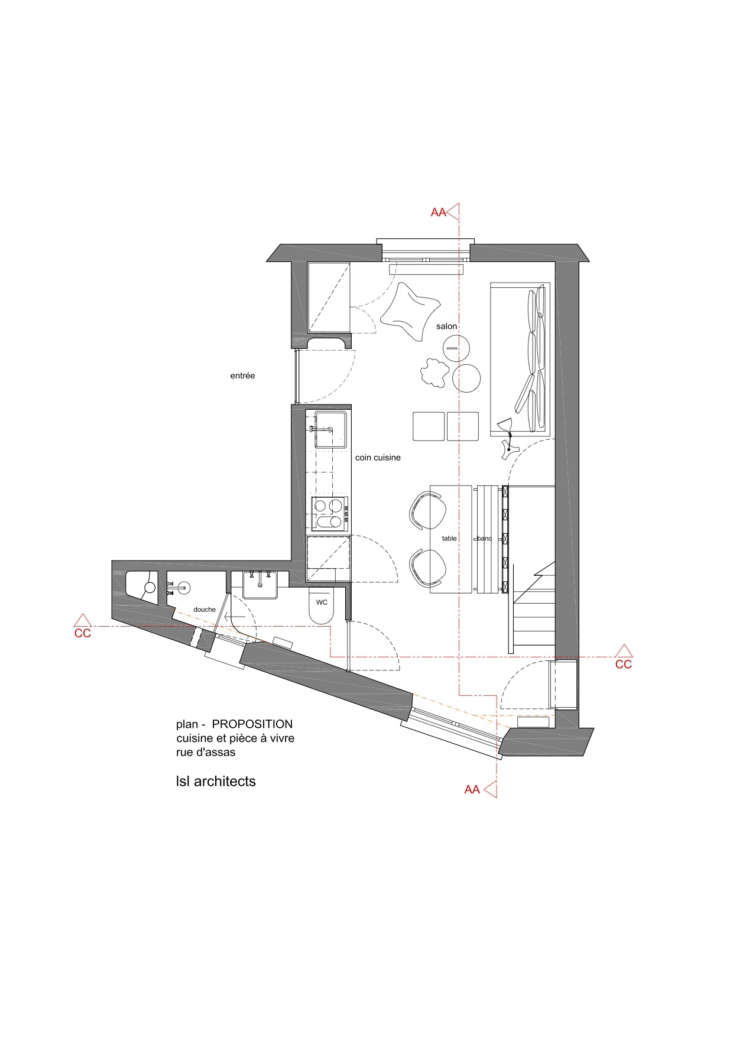 The living room and kitchen floor plan. The new bathroom is tucked opposite the mezzanine stair.
