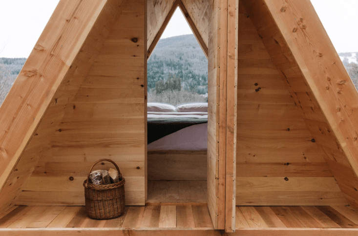 One of three Scandinavian-style Lushna cabins, for those who prefer rustic-luxe environs.