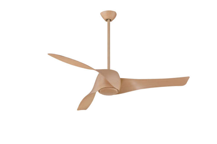 The propeller-like Artemis Ceiling Fan comes in  finishes (maple is shown) and comes with a cap (shown) and dimmable halogen light; it starts at $549.95 from Lumens.
