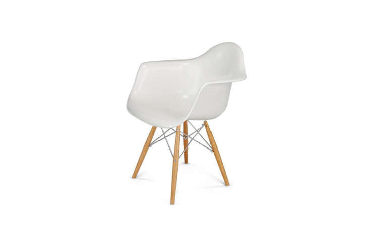 """The Fiberglass Case Study Arm Shell Dowel Chair is from Modernica; $475. """"I prefer Modernica as a source because their chairs are made of fiberglass, not molded plastic,"""" says Victoria."""