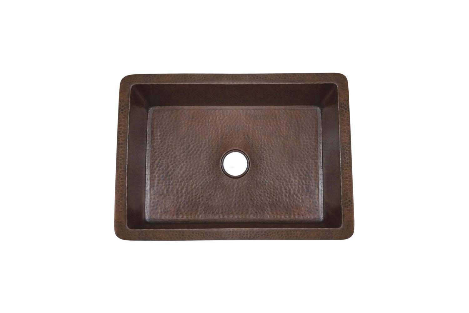 The Native Trails Cocina 30-Inch Hammered Copper Kitchen Sink is available in Antique Copper (shown) and Polished Copper; $